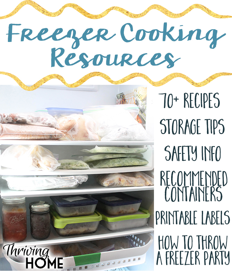 A great collection of freezer meal cooking resources. Loads of information including 70+ freezer meal recipes, how to throw a freezer party, how to store, save and thaw freezer meals and more.