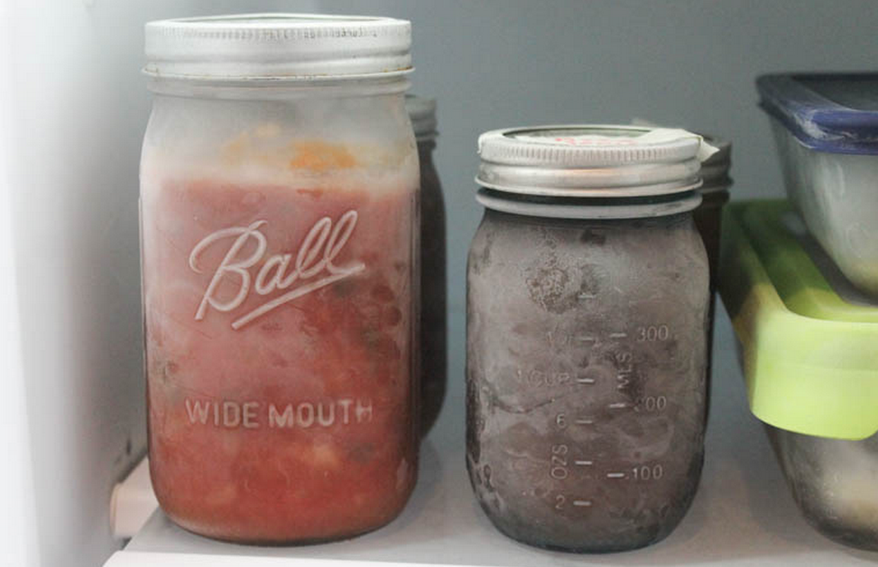 frozen food in mason jars