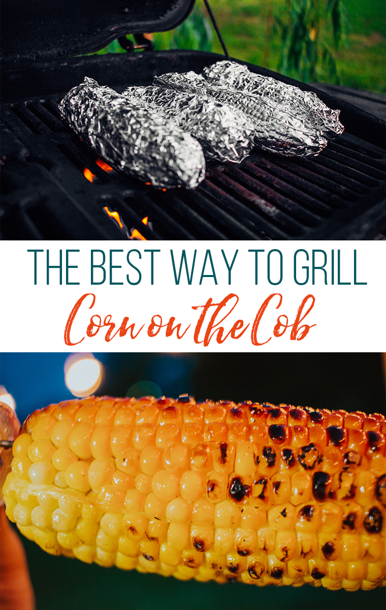 Corn wrapped in foil on a grill and grilled corn.