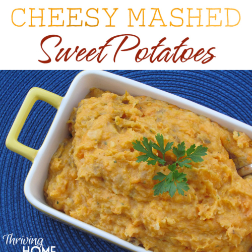 These may be healthier than mashed potatoes, but these Cheesy Mashed Sweet Potatoes will have your family coming back for more! #realfood #freezermeal #delicious