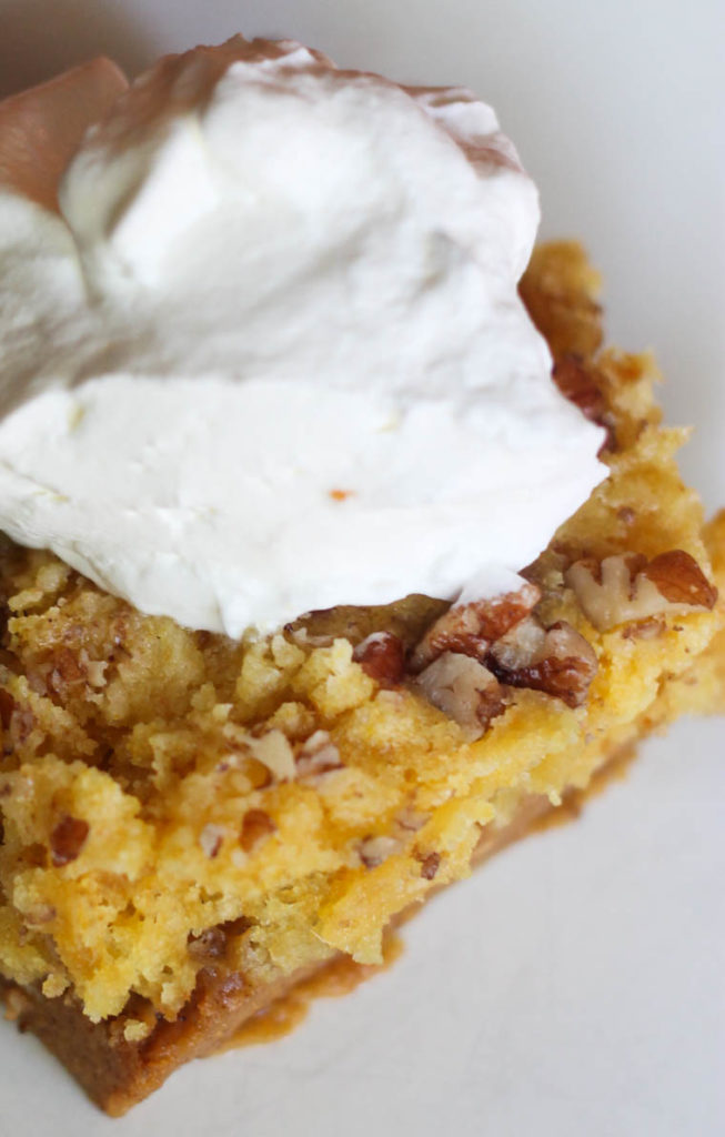 This easy to make, crowd-pleaser recipe goes a long away (serves 9-12 people). It is a delicious twist on classic pumpkin pie that almost any age will like.