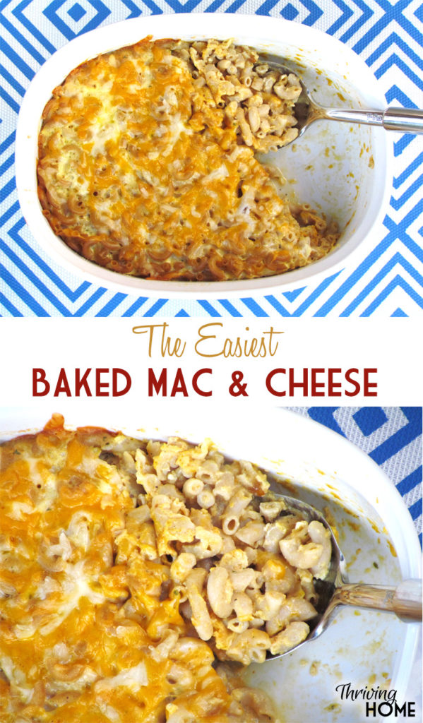 This dump, stir, and bake method really is the easiest Baked Mac and Cheese ever. Plus it's delicious! #freezermeal