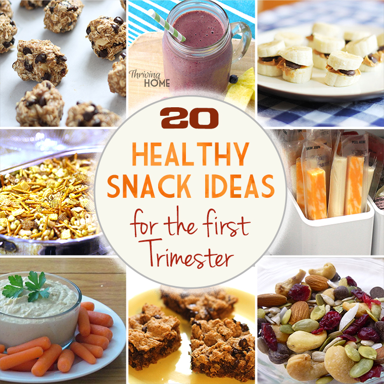 Need some high protein, low sugar snack ideas? Here is a great collection of 20 healthy snack ideas for the first trimester. Even if you aren't pregnant, this is a great round-up! | Thriving Home