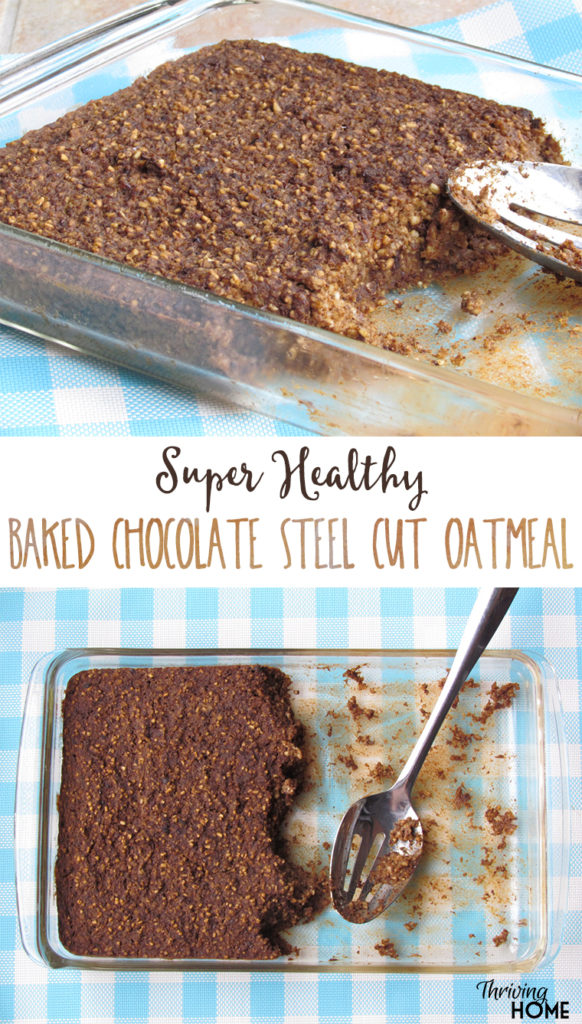 Baked Chocolate Steel Cut Oatmeal: A super health, easy, freezable breakfast.