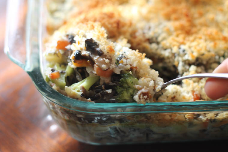 Broccoli and wild rice casserole. Full of flavor, packed with healthy ingredients and freezer friendly.