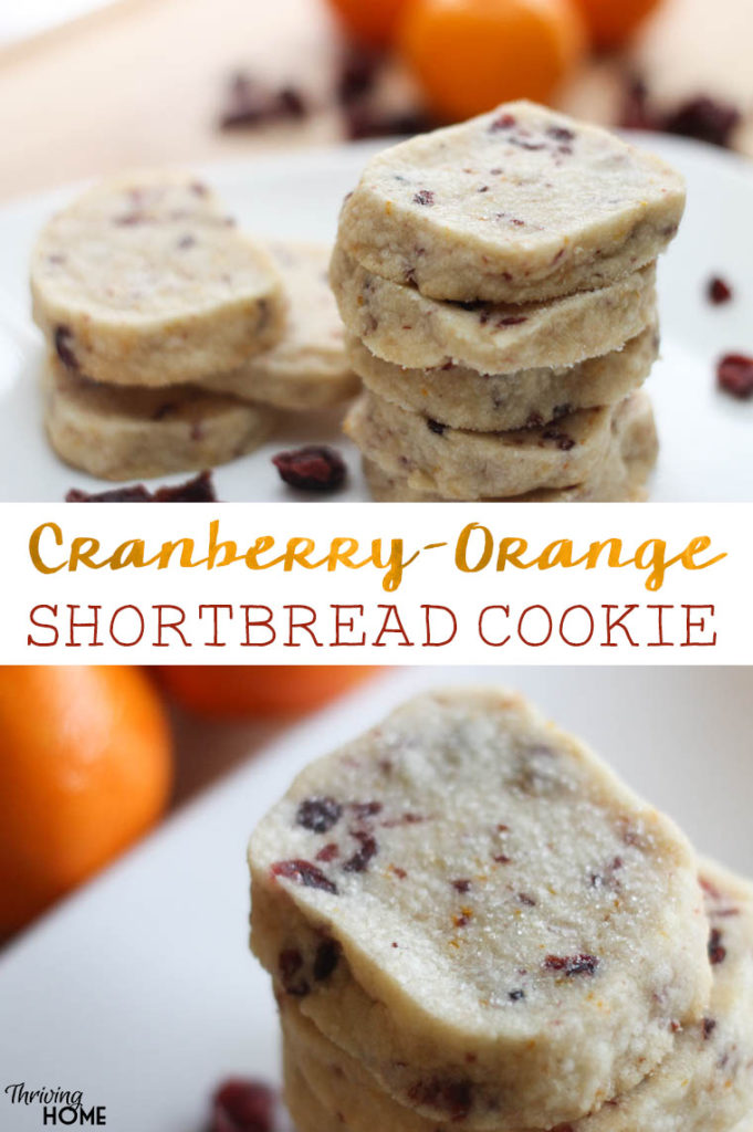 This cranberry-orange shortbread cookie is nothing short of delicious. Take the buttery-goodness of a classic shortbread and infuse it with fresh orange zest and cranberries. The result: an crowd-pleasing, unforgettable cookie! | Thriving Home