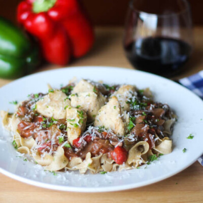 Light and Easy Chicken Cacciatore: How can something so easy be so complex-tasting? Look, friends, if we're going to eat healthfully in the New Year, this dish is what our tastebuds need--flavor, texture, and a beautiful dish to