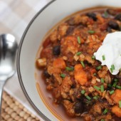 Slow Cooker Turkey Chili with Sweet Potato and Black Beans {Freezer Meal}