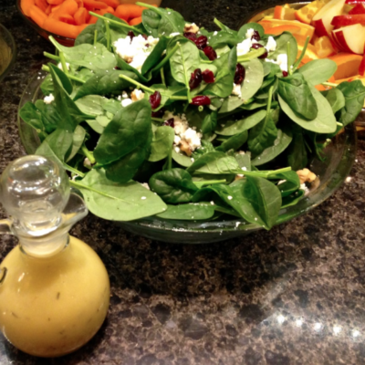 Cranberry Spinach Salad with Creamy Citrus Dressing