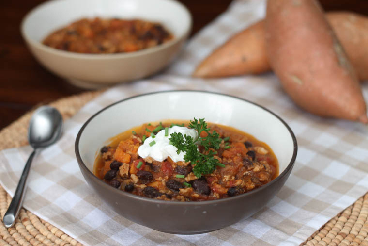 Healthy Turkey Chili with Sweet Potatoes and Black Beans
