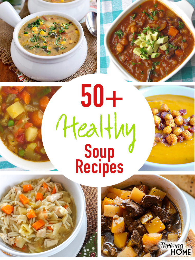 A fabulous roundup of healthy soup recipes. Great ideas for dinner or lunch. Also, great tips and tricks on freezing soups.