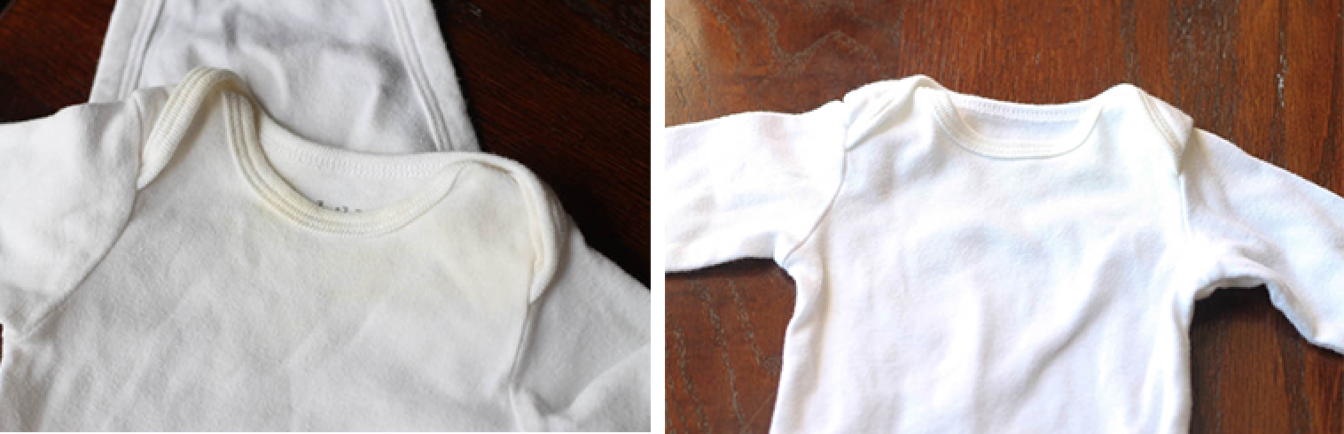 Baby clothes with yellow stains before and after washing with oxiclean