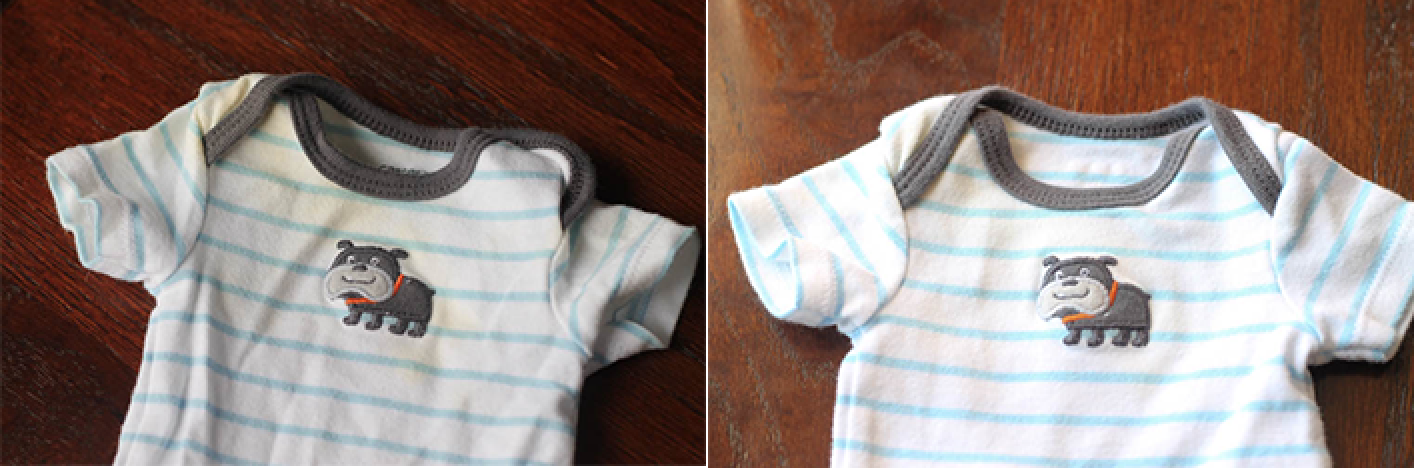 Baby clothes Before & After washing with oxiclean