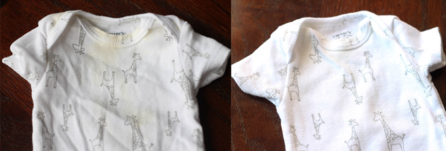 Baby clothes with yellow stains before and after washing