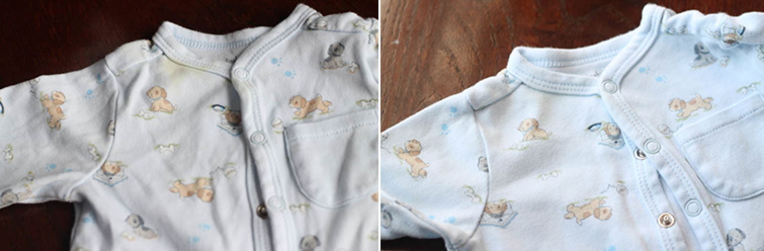 Baby clothes before and after washing with oxiclean