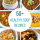 collage image of soups