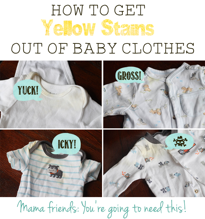 How to remove the yellow staining that shows up in stored baby clothes.
