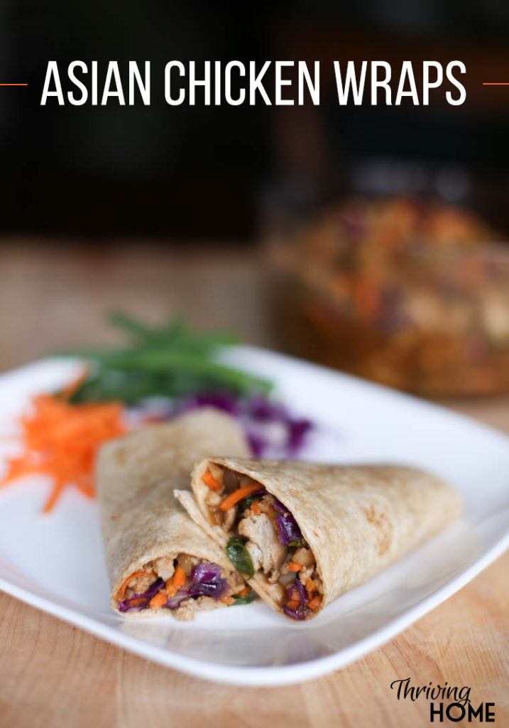 A delicious twist on Asian lettuce wraps. Add a tortilla for a whole different, healthy dinner. Asian Chicken Tortilla Wraps are also freezer friendly and would make a great meal to take to others. | Thriving Home
