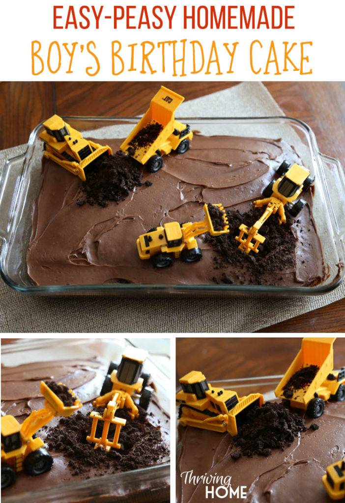 Easy DIY Boys Birthday Cake With Diggers Perfect Idea For A Construction Party