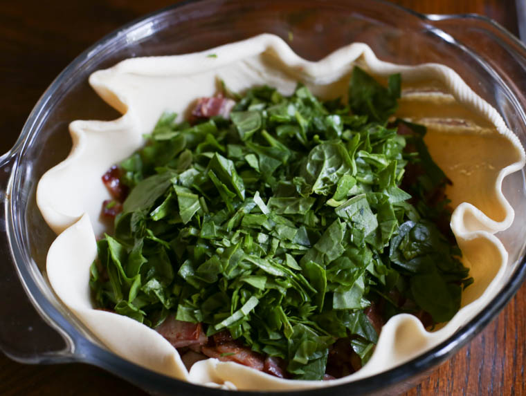 spinach and bacon in a pie crust in a pie dish