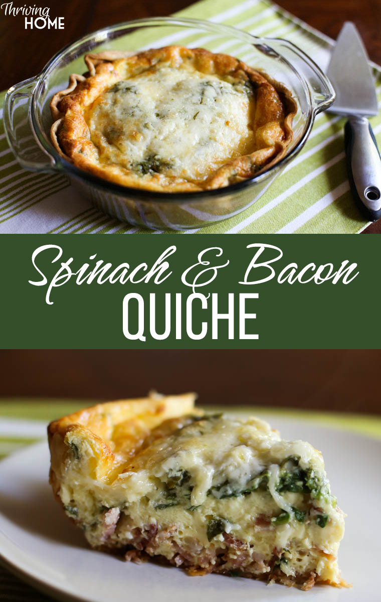 This spinach and bacon quiche recipe is a family favorite. I usually make it for dinner instead of breakfast! It is not only super easy to assemble but it also makes a great freezer meal.