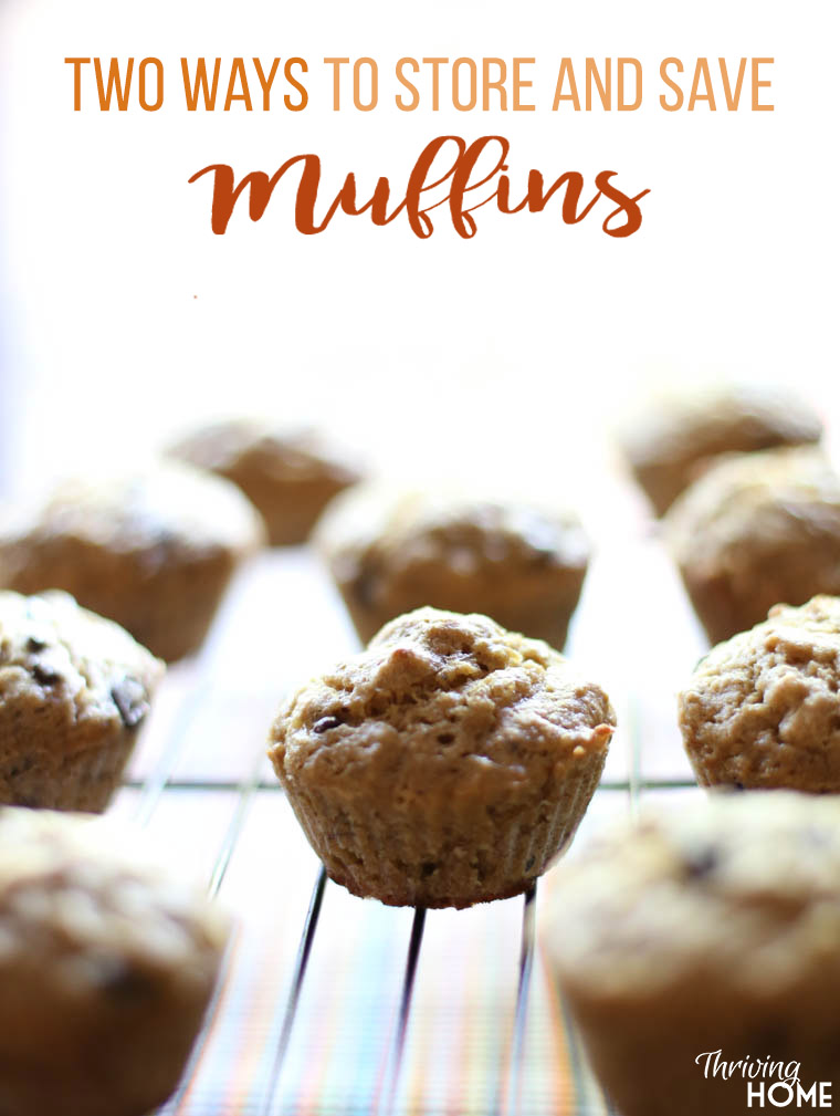 Two easy ways to save and store your muffins. You can save loads of time and money by doubling your muffin batches and freezing them or storing them with this handy trick!