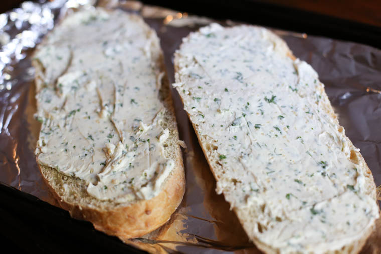 Freezer friendly garlic herb butter. Just three ingredients! I almost always use with a french loaf of bread. It's so pretty and delicious.