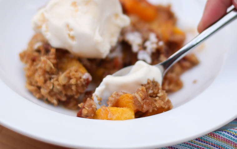 Pecan peach crisp dessert. Heaven help me, this fruit bake was delicious. Super easy to make too!