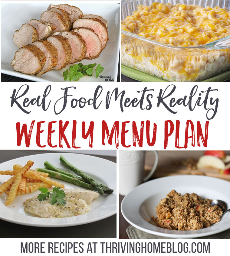 For October 3-9: This weekly menu plan provides real food recipes that the whole family will love! New plans are posted every Friday at Thriving Home.