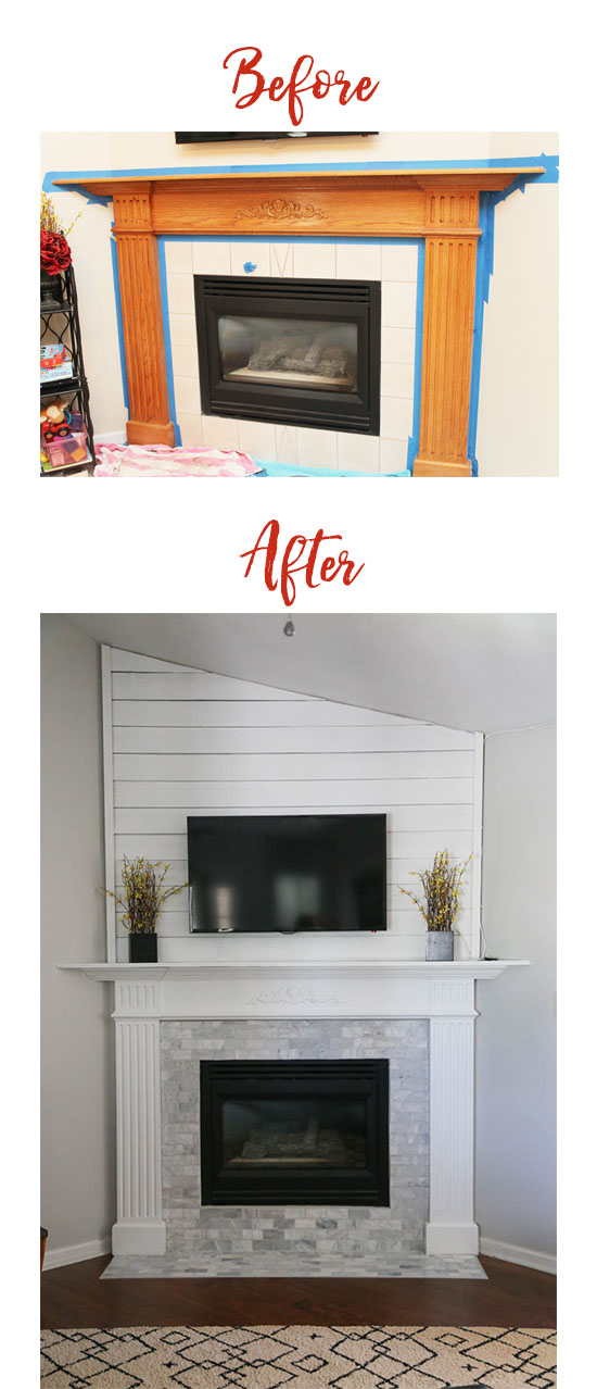 Before and After fireplace/mantle update. Using shiplap, paint and updated tile, this fireplace is now a focal point in our home!