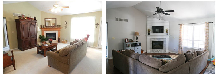 Before and after fireplace and mantle update