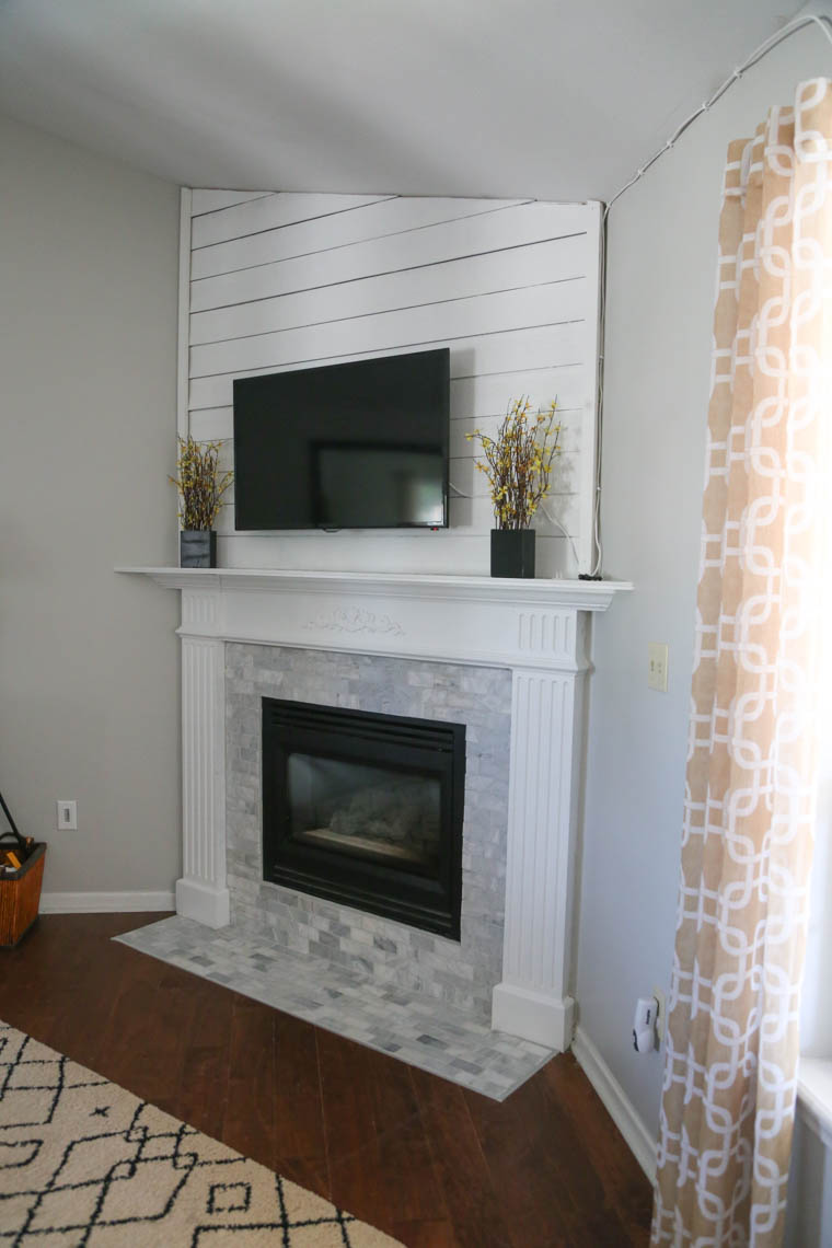 DIY fireplace and mantle update.