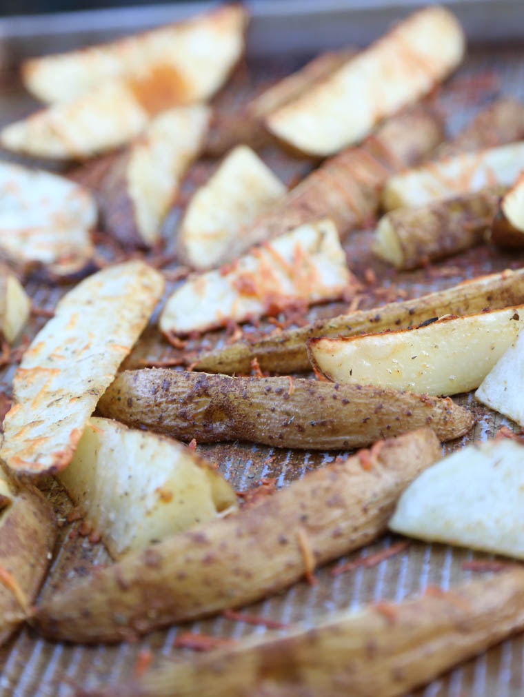 Crispy parmesan potato wedges. A simple side dish that is inexpensive and easy to make.