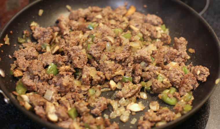 Ground beef philly cheesesteaks