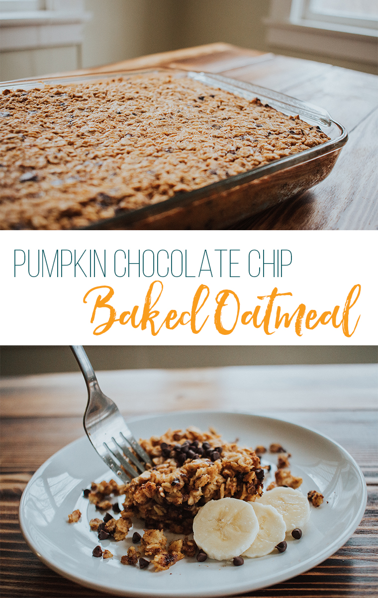 Pumpkin Chocolate Chip Baked Oatmeal in a glass baking dish
