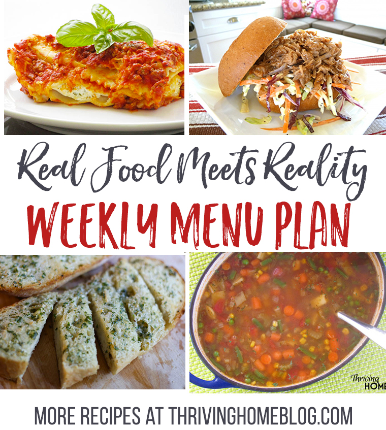 Real Food Menu Plan for November 28-Dec 4: Easy and delicious meal ideas that the whole family will love. Posted every Friday at Thriving Home.