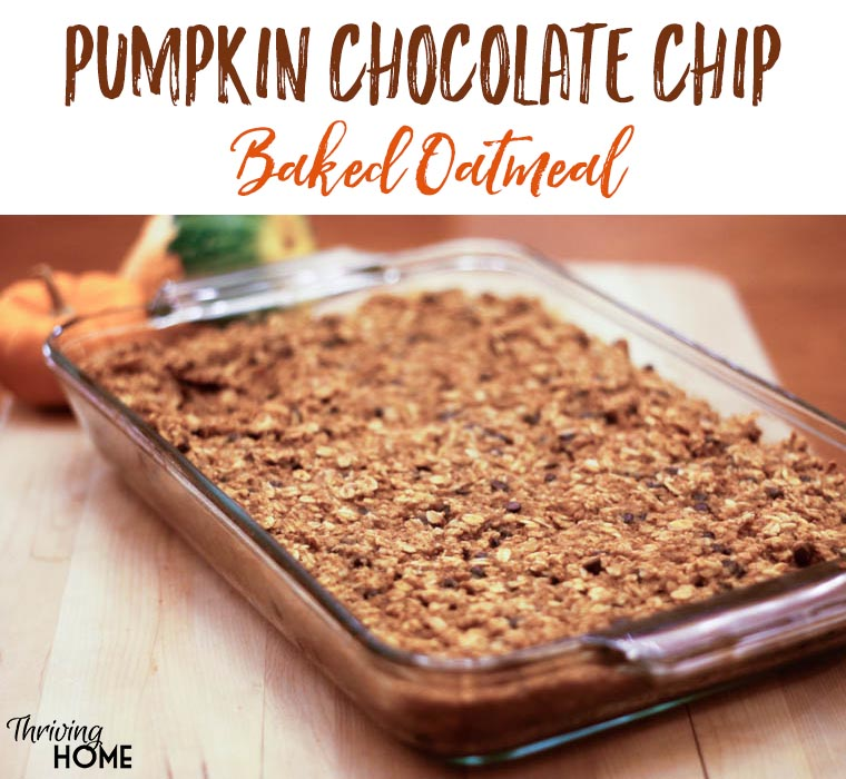 This Pumpkin Chocolate Chip Baked Oatmeal makes for a healthy, delicious breakfast for the whole family.