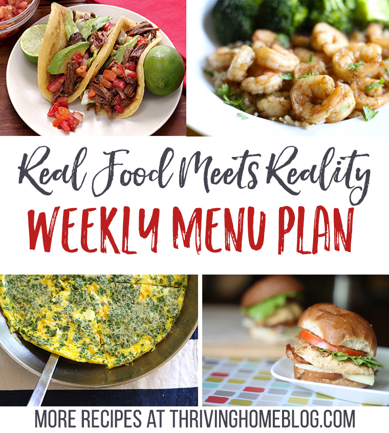 Real Food Menu Plan for January 31-February 6: Easy and delicious meal ideas that the whole family will love. Posted every Friday at Thriving Home.