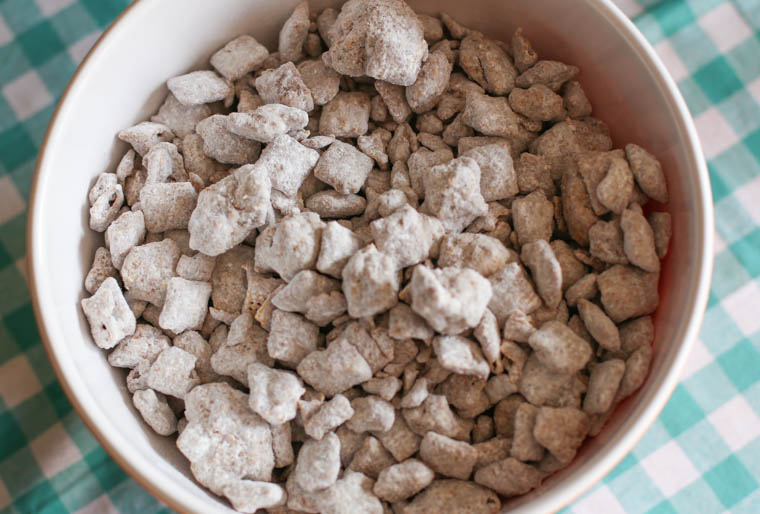 Super simple Puppy Chow (or Muddy Buddies). An easy dessert recipe to have in your back pocket for a crowd or party.