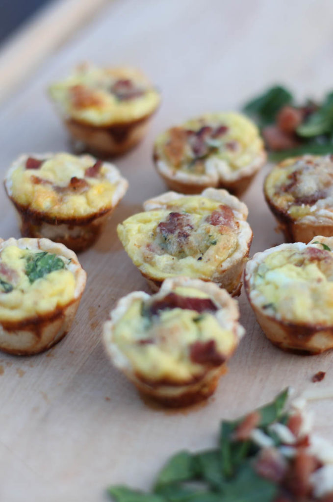 Simple goodness. Mini Bacon, Spinach, and Egg Quiches. These come together super easy and are freezer friendly. Great for breakfast, lunch, or dinner. OK, maybe a snack too!