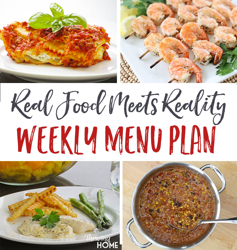 Real Food Menu Plan for April 3-9: Easy and delicious meal ideas that the whole family will love. Posted every Friday at Thriving Home.