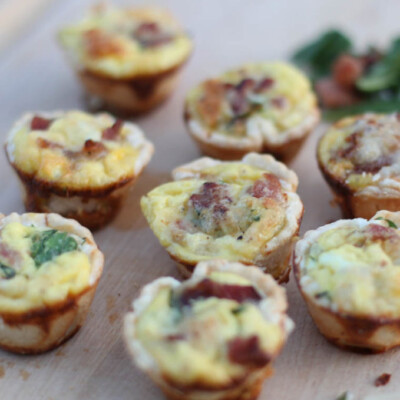 Mini Bacon, Spinach, and Egg Quiches {Freezer Meal}