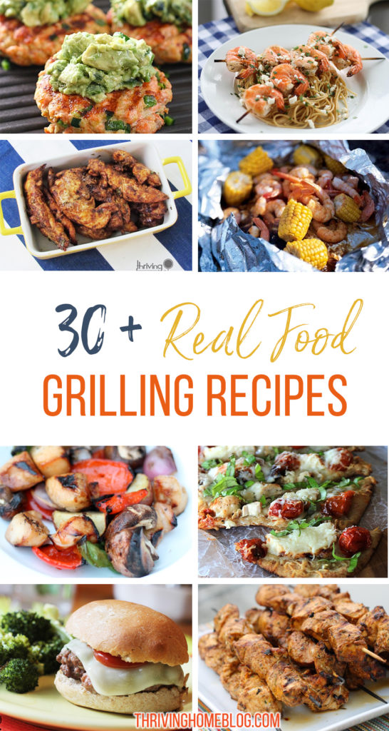 collage image of grilling recipes.