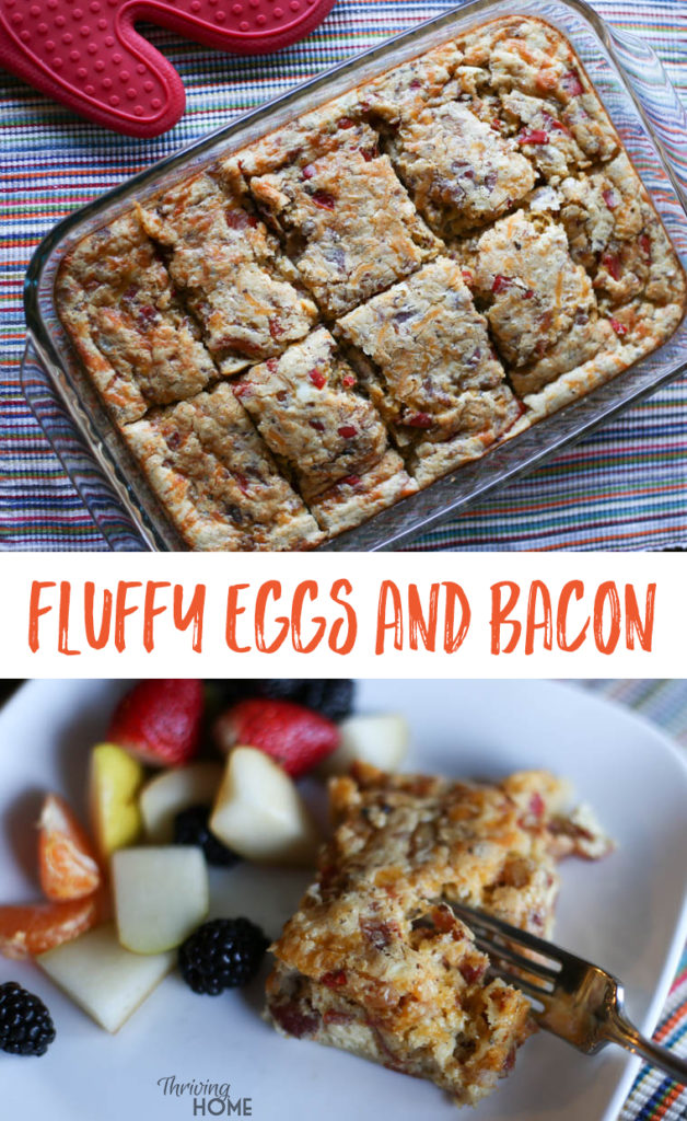 Fluffy Eggs and Bacon is a super simple breakfast that would be great for a freezer club or freezer cooking party. The ingredients are simple and putting it together is a cinch. All members of my family loved it too!