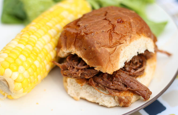 Shredded BBQ Beef Sandwiches. This slow cooker dinner idea can make a great freezer meal too! Using our homemade BBQ Sauce puts these family friendly sandwiches over the top.