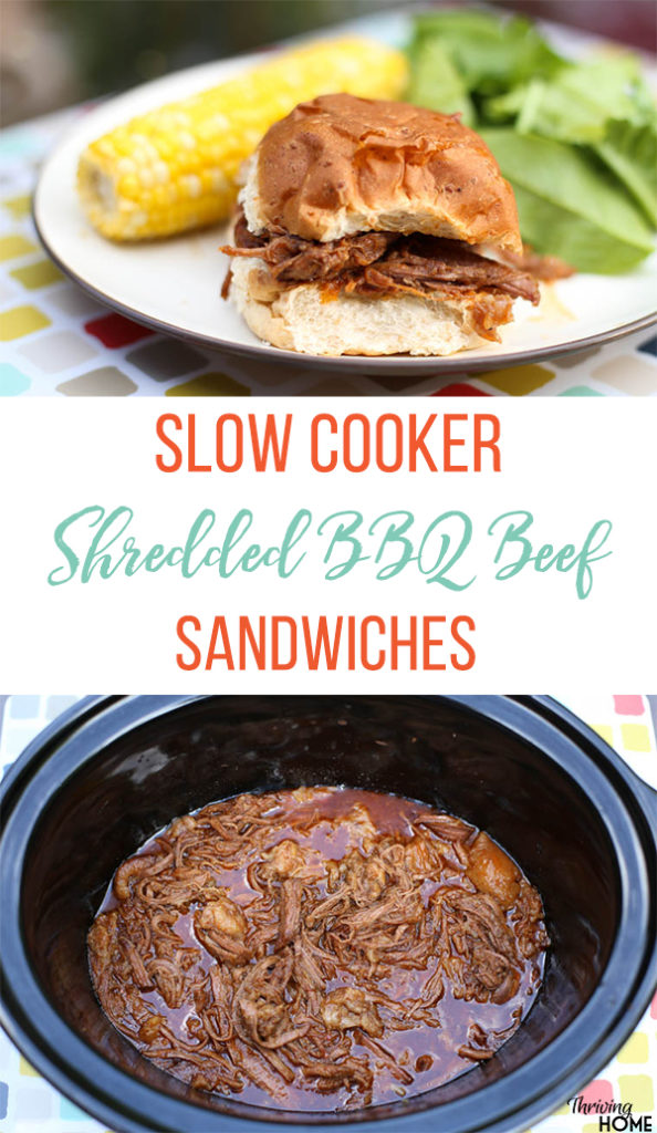 Slow Cooker Shredded BBQ Beef Sandwiches