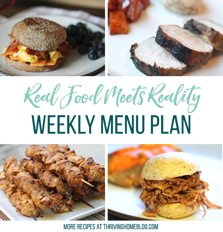Real Food Menu Plan for May 29-June 3: Easy and delicious meal ideas that the whole family will love. Posted every Friday at Thriving Home.