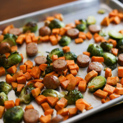 One Sheet Roasted Brussels, Brats, & Sweet Potatoes