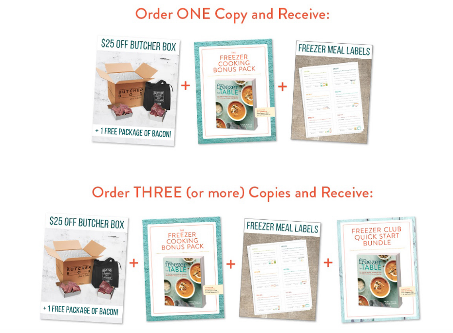 Bonus Offers for Pre-Ordering From Freezer to Table Cookbook
