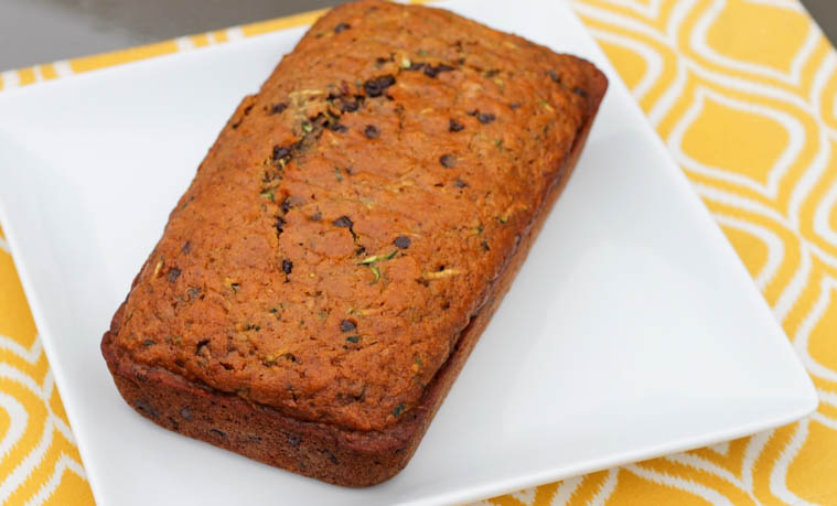 This Healthy Whole Wheat Zucchini Bread with Chocolate Chips is made with all whole food ingredients and is moist and delicious!